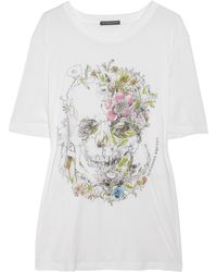Alexander McQueen Skull and Floral-print Cotton T-shirt - Lyst
