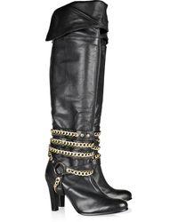 Antik Batik Chain-detail Leather Knee Boots black - Lyst