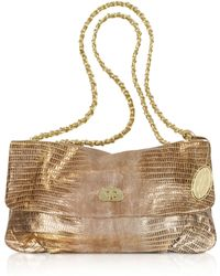 Elie Tahari - Emory Gold Leather Handbag - Lyst