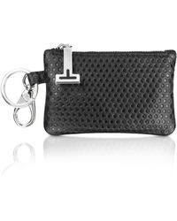 A.Testoni - Black Beehive Stamped Calf Leather Pouch Key Ring - Lyst