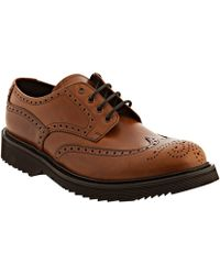 Prada Ocra Leather Rubber Lug Wing-tip Oxfords - Lyst