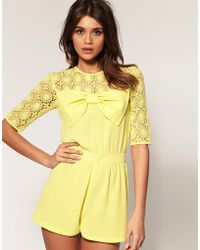 ASOS Collection - Asos Lace Bow Playsuit - Lyst