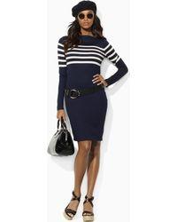 Ralph Lauren Blue Label Eliza Striped Jersey Dress - Lyst