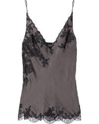 Carine Gilson Lace-appliquéd Silk-satin Camisole - Lyst