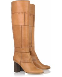 Chloé Stitched Leather Knee Boots - Lyst