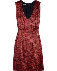 Thurley Tucket Animal-print Silk-satin Dress red - Lyst