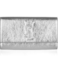 Saint Laurent Belle Du Jour Metallic Leather Clutch - Lyst