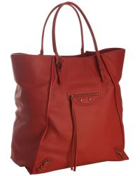 Balenciaga Lipstick Red Leather Papier Tote - Lyst