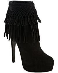 Dior Black Suede Fringe Platform Ankle Boots - Lyst