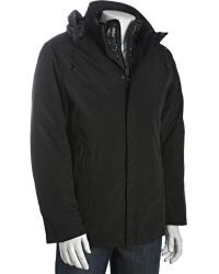 T-Tech By Tumi - Black Water-resistant Quilted Bib Ballistic Oxford Hooded Coat - Lyst