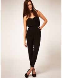 Tba Asos Pleat Bust Jumpsuit - Lyst