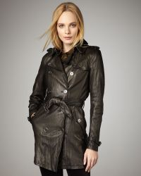 Burberry Brit - Washed Leather Trenchcoat - Lyst