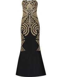 Marchesa Embellished Silk-Crepe Gown gold - Lyst