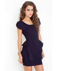Nasty Gal Victoria Peplum Dress - Navy - Lyst