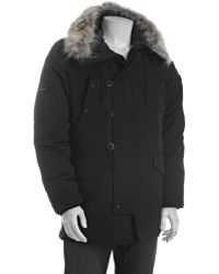 T-Tech By Tumi - Black Coyote Fur Trimmed Microtech Down Filled Parka - Lyst