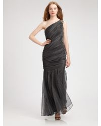 Tadashi Shoji Metallic Tulle Gown - Lyst