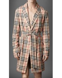 Burberry - Check Cotton Dressing Gown - Lyst