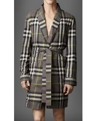 Burberry - Check Dressing Gown - Lyst