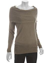 Tahari Honey Maple Wool Blend Lila Foldover Neck Sweater - Lyst