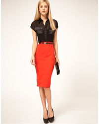 ASOS Collection Asos Jersey Pencil Skirt with Contrast Belt - Lyst