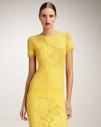 Jean Paul Gaultier Fitted Lace Tee yellow - Lyst