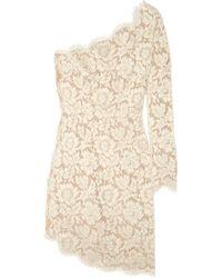 Stella McCartney Asymmetric Lace Dress beige - Lyst