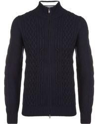 Façonnable - Cable Knit Full Zip Jacket - Lyst