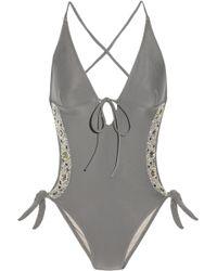 Tara Matthews Sparkle Hand-embellished Cutout Swimsuit gray - Lyst