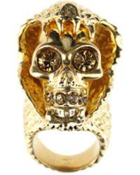 Alexander McQueen Snake and Skull Ring gold - Lyst