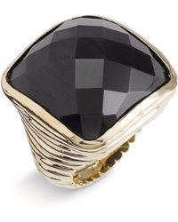 Ariella Collection Faceted Square Ring black - Lyst