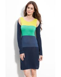 BCBGMAXAZRIA Cutout Shoulder Sweater Dress - Lyst