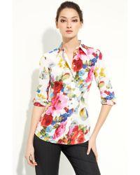 Dolce & Gabbana Printed Stretch Silk Shirt - Lyst