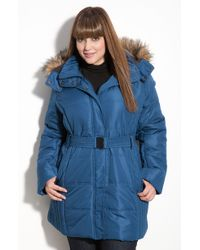 Gallery Faux Fur Trim Quilted Jacket - Lyst