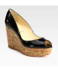Christian Louboutin Patent Leather Cork Wedge Pumps - Lyst