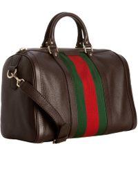 Gucci Cocoa Leather Vintage Web Boston Bag - Lyst