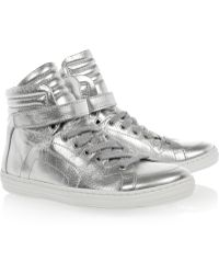 Pierre Hardy Silver Foil Leather Carryover High_top Sneakers - Lyst