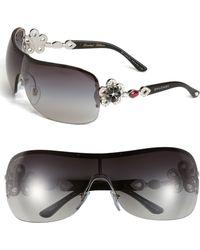 BVLGARI Crystal Temple Rimless Shield Sunglasses - Lyst