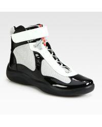 Prada High-Top Patent Sneakers - Lyst