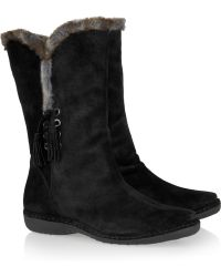 Stuart Weitzman Furlure Suede and Faux Fur Calf Boots - Lyst