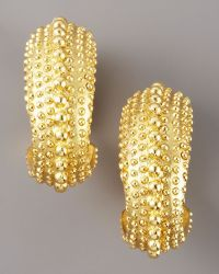 Oscar de la Renta Textured Hoop Earrings - Lyst