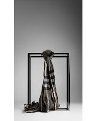 Burberry Giant Check Crinkled Scarf - Lyst