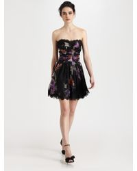Dolce & Gabbana Silk Chiffon Strapless Dress - Lyst