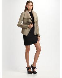 Helmut Lang Leather & Jersey Mini Skirt - Lyst