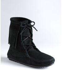 Minnetonka Tramper Moccasin Ankle Boots - Black