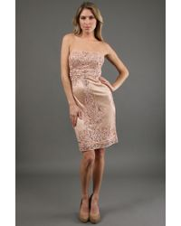 Sue Wong Sheath Dress With Seutache 70% Off - Lyst