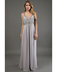 Sue Wong Beaded Grecian Gown - Lyst