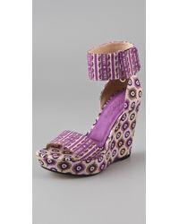 Theodora & Callum Mustique Platform Wedge Sandals - Lyst