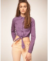 ASOS Collection Asos Cropped Tie Front Denim Shirt in Lilac - Lyst