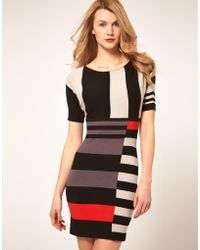 Karen Millen Mixed Stripe Knit Dress - Lyst