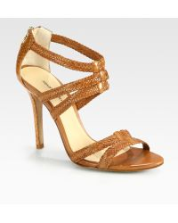 Alexandre Birman Strappy Watersnake and Leather Sandals - Lyst